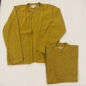 Two Piece Bedford Fair Gold Cardigan & Top